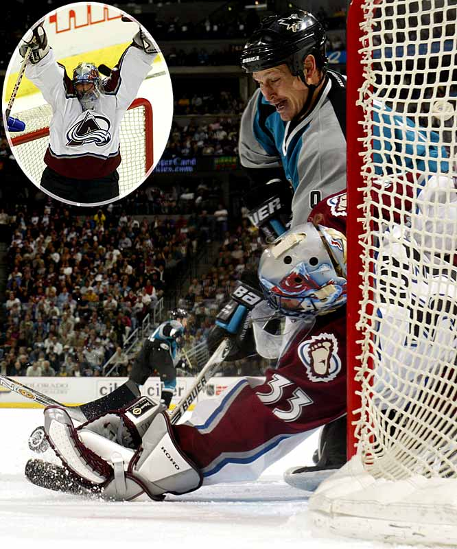 "Patrick Roy was masterful in stopping 27 shots while the Avs nursed Peter Forsberg's second-period goal, especially during San Jose's two-man advantage in the final 55 seconds. Roy extended his NHL record with his 22nd career playoff shutout. ""I said before Game 6, if there is one player I'm not worried about for Game 7, it's Patrick,"" said Colorado coach Bob Hartley. ""He's our energy, he's the reason that every game we feel that we have a chance to win. He came up large tonight."""