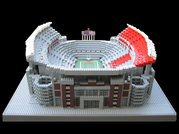 <p>Anyone who has ever tried to make... well, anythng out of lego's knows how frustratingly difficult stacking those teeny building blocks can be. Which is why Jason Burik deserves a standing ovation. See that picture of Bryant-Denny Stadium over there? Take a closer look at it. It's a photo-realistic model. MADE ENTIRELY OF LEGOS! Cool, no?<br />