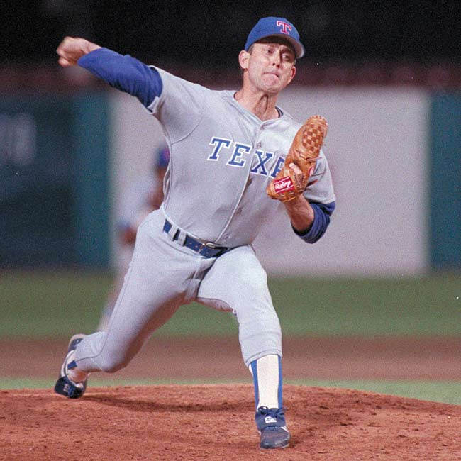 Ranger right-hander Nolan Ryan pitches the seventh no-hitter of his career, striking out 16 Blue Jays as Texas defeats Toronto, 3-0.