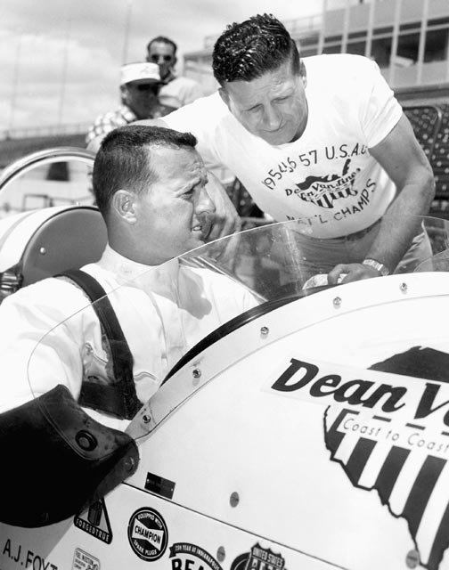 A.J. Foyt scores his first professional victory, in a U.S. Automobile Club (USAC) midget car race in Kansas City, Mo.