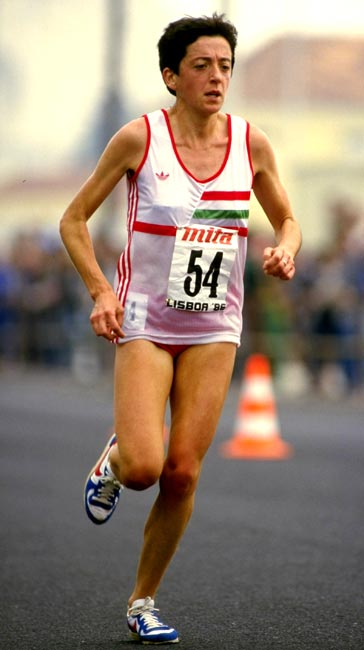 Rosa Mota sets a female world record when she runs the 20k in one-hour, six minutes and 55.5 seconds.