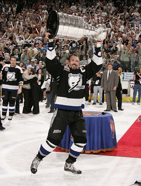 In Game 7 of the 2004 Stanley Cup Finals, Tampa Bay beats Calgary, 2-1, to claim the franchise's first championship.