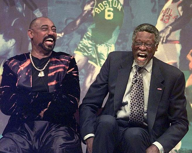 The Bill Russell Tribute is held at the FleetCenter in Boston in a ceremony to salute the Hall of Famer. The ceremony was hosted by entertainer Bill Cosby and featured a star-studded lineup including Wilt Chamberlain (left), former Celtics greats and other sports legends.