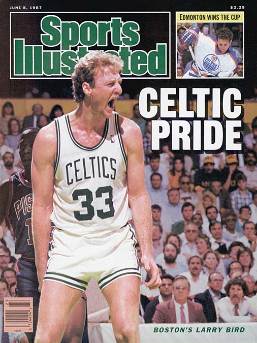 Boston's Larry Bird steals an inbounds pass from Detroit's Isiah Thomas and passes to a cutting Dennis Johnson for the winning basket as the Celtics pulled out an improbable 108-107 win over Detroit in Game 5 of the Eastern Conference Finals.