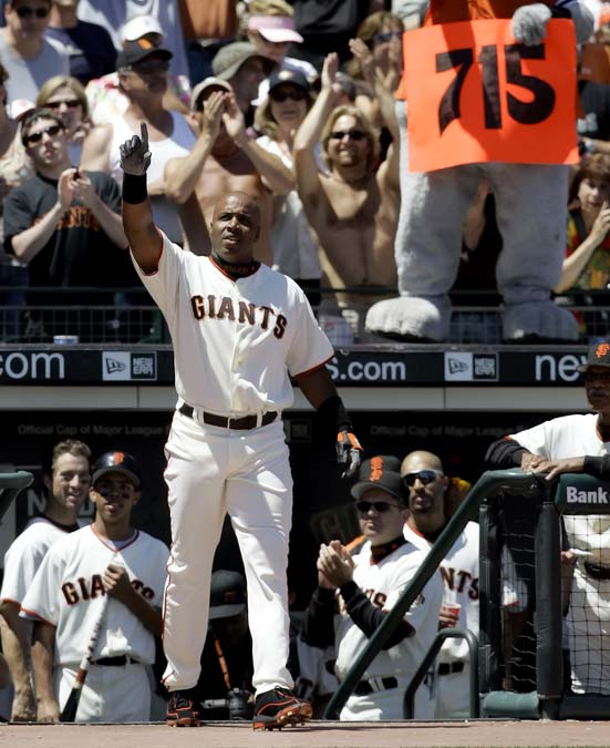 At AT&T Park, Barry Bonds passes Babe Ruth the all-time home run list and takes sole possession of second place as he hits the 715th homer of his 21-year big league career.