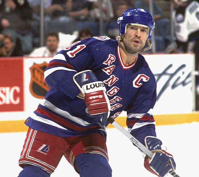 In a 8-3 victory over Quebec, New York's Mark Messier becomes the third player to reach 100 playoff goals.