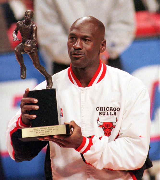 After being denied the 1986-87 MVP despite averaging 37.1 points, Jordan won both MVP and Defensive Player of the Year the following season. His Airness averaged 35.0 points (on 53.5 percent shooting) and 3.2 steals for the Bulls, who had their first 50-win seasons since 1973-74.