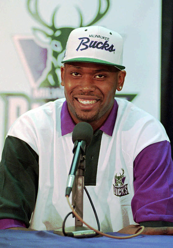 Milwaukee selects Purdue forward Glenn Robinson with the first pick in the 1994 NBA Draft. Dallas takes California point guard Jason Kidd with the second pick, and Detroit snags Duke forward Grant Hill with the third pick.