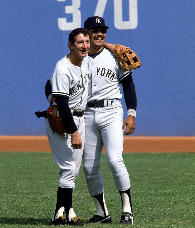 Billy Martin and Reggie Jackson share a moment before Game 5 of the World Series against the Los Angeles Dodgers.