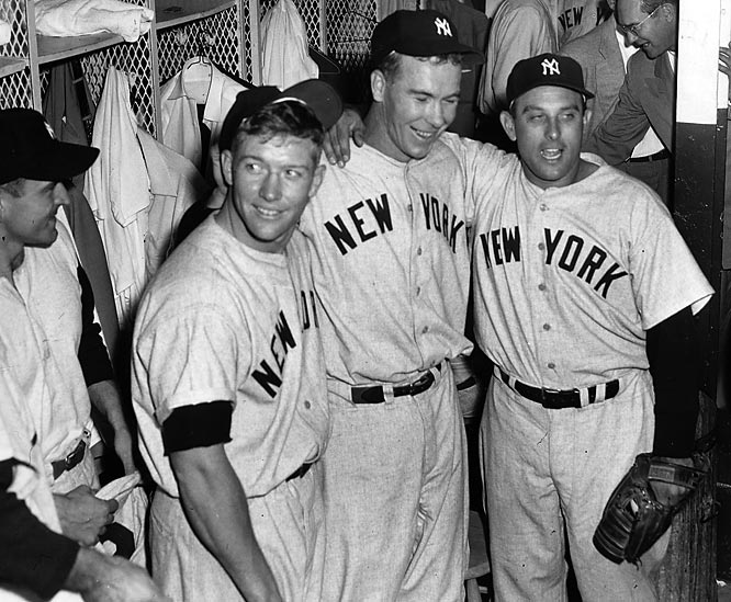 Mickey Mantle and other Yankees celebrate in the locker room after winning the 1952 World Series.