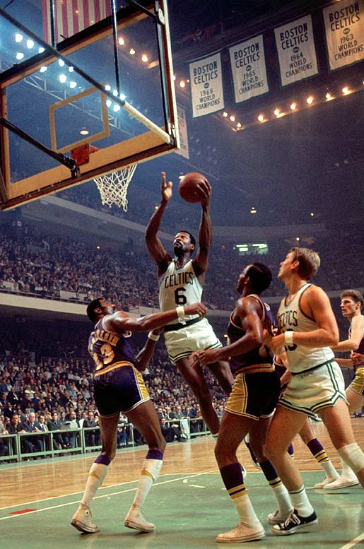Another Celtics legend went out a winner: Bill Russell retired as a player after collecting his 11th championship, spoiling a brilliant series by Jerry West, who averaged 37.9 points and became the first (and still only) player from a losing team to be named Finals MVP. In Game 7, the Celtics nearly squandered a 17-point fourth-quarter lead, but, thanks in part to Don Nelson's famous last-minute shot near the free-throw line, held on to win 108-106.
