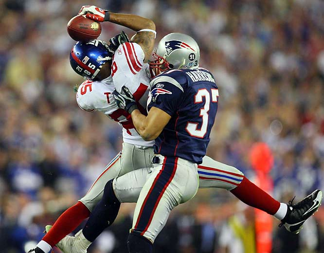 The Giants were trailing the Patriots 14-10 in Super Bowl XLII and facing a big third down near midfield. Eli Manning went back to pass and was nearly sacked, but eluded the grasp of the Giants defender and lofted a pass 32 yards downfield. With New England's Rodney Harrison draped all over him, Tyree came down with the ball, trapping it against his helmet. The Giants went on to a 17-14 victory.
