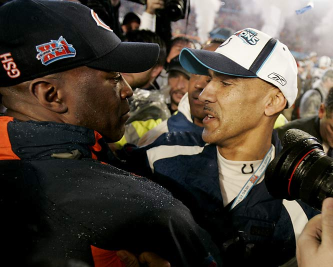 "Good friends Dungy and Smith made history together as the first Black coaches in the Super Bowl. Their ascendence marked a decade of progress for the NFL, which instituted the ""Rooney Rule"" to ensure teams offer interviews to worthy minority candidates for head coaching jobs. Dungy's Colts won the game 29-17, but both coaches were extremely proud of their achievement."