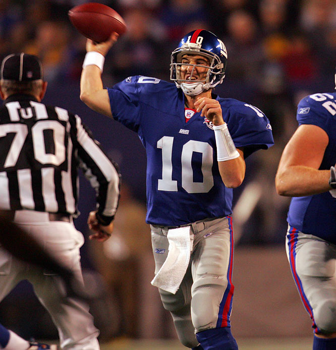 After forcing a draft-day trade, Manning started seven games for the Giants, going 1-6. The unquestioned starter in 2005, Manning led the Giants to an 11-5 mark and has not had a losing season since.