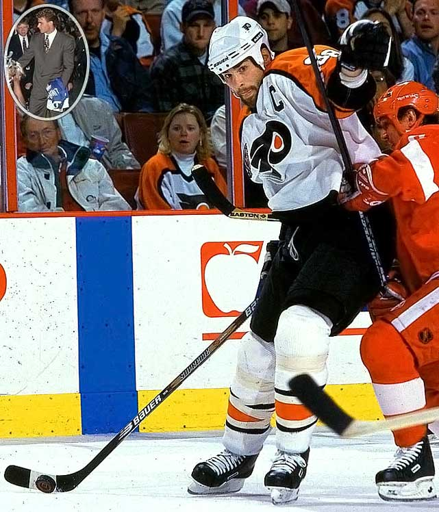 Dubbed The Next One, Lindros famously forced a trade to Philadelphia where he became captain, the pivot on the legendary Legion of Doom line, and the 1994-95 Hart Trophy-winner. His 13-season career was diminished and ultimately ended by a series of concussions. <br><br>No. 2: Pat Falloon, RW, Sharks<br><br>Notables: <br>Scott Niedermayer, D, Devils (3) <br>Peter Forsberg, C, Flyers (6) <br>Markus Naslund, LW, Penguins (16)