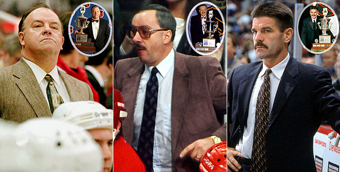 Scotty Bowman, who has won a record nine Stanley Cups, earned the Jack Adams Award as coach of the year twice (1977, 19996 -- with Montreal and Detroit, respectively) during his illustrious career. Jacques Demers is the only repeat winner (1987, 88 with Detroit) while Bob Francis remains one of the more obscure choices. Francis bagged the Adams in 2002 while guiding the Phoenix Coyotes to a 40-27-9-6 mark, but lasted only another season-and-a-half and has been out of the NHL ever since.
