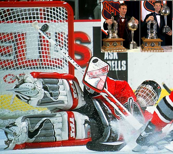 One of the few goaltenders to win a major award other than the Vezina Trophy (he won six), The Dominator took the Hart in back-to-back years (1997-98) before backstopping Buffalo to the Stanley Cup Finals in 1999. He was also awarded the Pearson in each of those seasons.