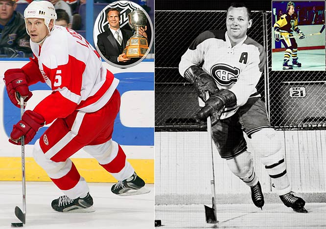 Nicklas Lidstrom, the Red Wings' nonpareil captain, has won the Norris six times, trailing only Bobby Orr (8) and Doug Harvey (7), the Canadiens' superb Hall of Famer who some feel may have been even better than Orr. Randy Carlyle (inset right), current coach of the Anaheim Ducks, has the distinction of beating out New York Islanders Hall of Famer Denis Potvin for the Norris in 1981 while playing for Pittsburgh. It was Carlyle's only Norris during his 17-year NHL career.