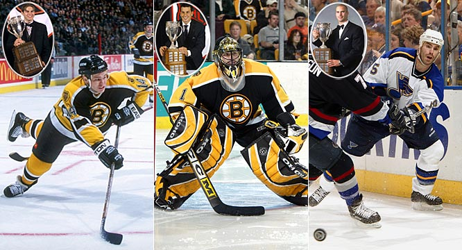 Sometimes, winning the Calder is not an indication of future success. Sergei Samsonov (1998) and Andrew Raycroft (2004), both of the Boston Bruins, have yet to fully deliver on their promise. Barret Jackman, a presumably defensive blueliner for St. Louis, has been plagued by injuries and has posted successive -17 and -12 campaigns the past two seasons. He was chosen in 2003 over Detroit's superb two-way forward Henrik Zetterberg.