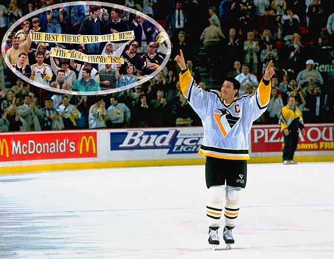 After announcing that the season would be his last, Mario Lemieux scored his 600th career goal -- against Vancouver at The Igloo on Feb. 4, 1997 -- becoming the second fastest player to reach that mark. In the playoffs, the Penguins fell to the Flyers in five first-round games with Lemieux scoring on his final shot in the Civic Center as the crowd chanted his name during the final minutes. After the season, the Hockey Hall of Fame announced it would waive its three-year waiting period and allow Lemieux to enter immediately.