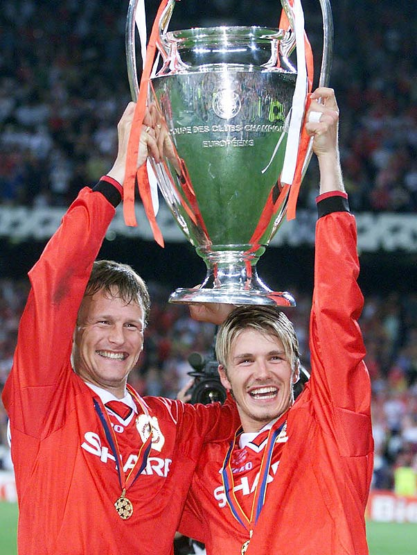 Playing in a career-high 52 games, Beckham and Man U completed the historic treble, winning the Premier League, FA Cup and, in a historic final, the UEFA Champions League (where two late goals set up by Beckham pushed United past Bayern Munich 2-1). Beckham was named runner-up for the FIFA World Player of the Year award (and would be again in 2001).