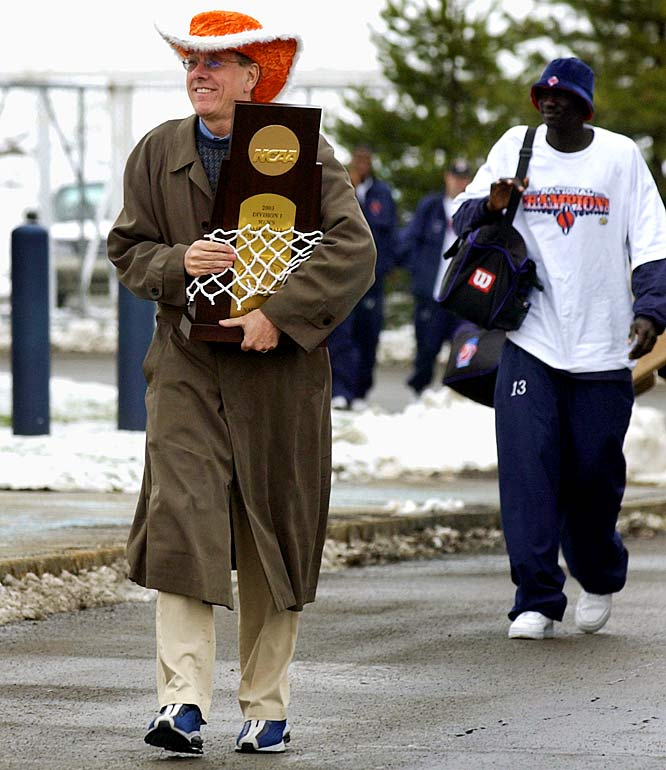 During his 27 seasons as head coach at his alma mater, Boeheim had achieved remarkable success, but was 0-2 in the national championship. Then came freshman Carmelo Anthony, who led the Orange on a dream run in 2003. Anthony finished with 20 points, had 10 rebounds and seven assists in a 81-78 victory over Kansas that gave Boeheim his first national championship.