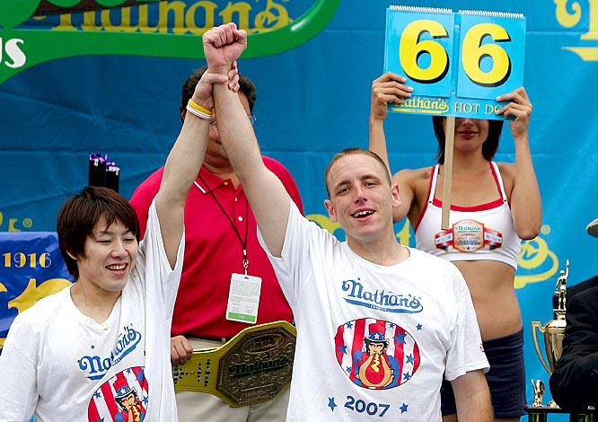 The king died on the bun. American eating machine Chestnut knocked off six-time winner Kobayashi by inhaling a world-record 66 hot dogs in 12 minutes. The two went frank-for frank (Kobayshi finished with 63 hot dogs eaten) over a furious 12 minutes.