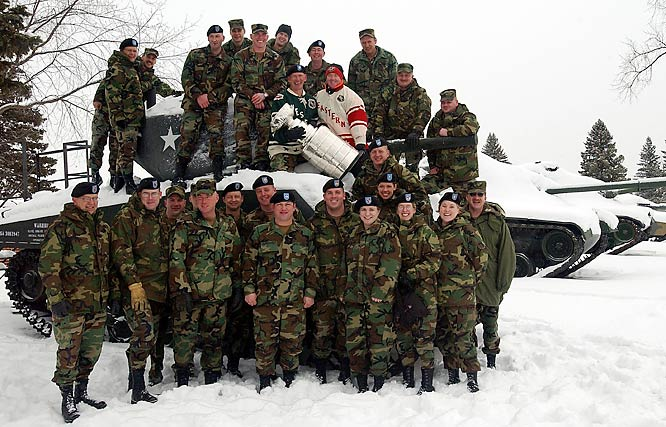 The Stanley Cup visits the troops at the Camp Ripley National Guard Base on a snowmobile trip across Minnesota during the 2004 NHL All-Star Week.