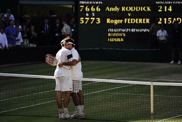 Andy Roddick had his serve broken one time in 77 games during the 2009 final, and one time was all Roger Federer needed to win his record-setting 15th Grand Slam title. In an epic 4-hour-16- minute-affair, Federer won 5-7, 7-6, 7-6, 3-6,16-14 to eclipse Pete Sampras on the all-time Slam list.