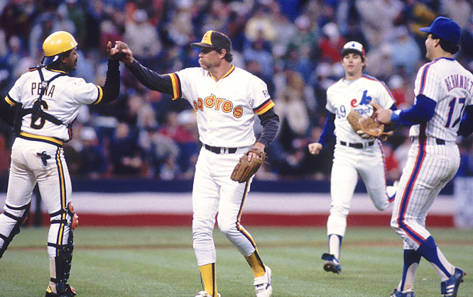 Good Gossage is congratulated by teammates Tony Pena, Keith Hernandez and Tim Wallach after pitching a scoreless ninth inning to earn a save.