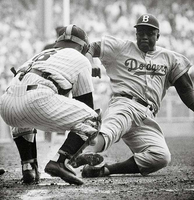 "The shame of it is that Robinson already was 28 years old by the time Branch Rickey and the Brooklyn Dodgers dared to break the color line in Major League Baseball. In his debut season, the first of his only 10 big-league seasons, Robinson reached base 258 times and scored nearly half of those times (125). His speed and daring on the bases kept fans riveted and pitchers distracted. He received MVP votes in eight of his 10 seasons without ever hitting 20 home runs in a season, and stole home 19 times. Said teammate Duke Snider, ""He was the greatest competitor I've ever seen. I've seen him beat a team with his bat, his ball, his glove, his feet and, in a game in Chicago one time, with his mouth."""