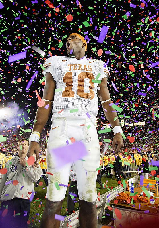 """Even before his near-miraculous, national-title-clinching performance in the '06 Rose Bowl (VY passed for 267 yards and rushed for an even 200, including a game-winning, 9-yard scramble with 19 seconds remaining), the rangy dual-threat QB specialized in leading outrageous, you-cannot-be-serious comebacks: from 28 points down against Oklahoma State in 2004; from 10 down against Michigan in the 2005 Rose Bowl, after which he had the prescience to promise, """"We'll be back!"""""""