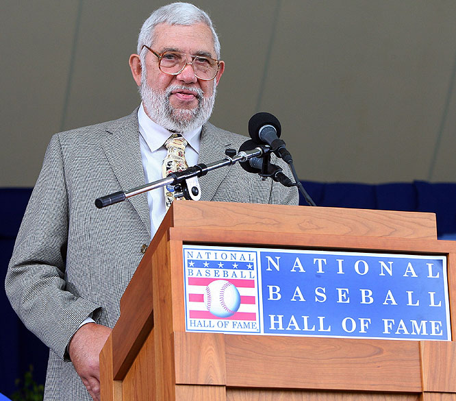 "Baseball writer Nick Peters accepts the 2009 J.G. Taylor Spink Award given for ""Meritorious contributions to baseball writing"" at Clark Sports Center during the Baseball Hall of Fame induction ceremony."
