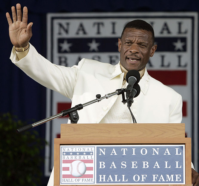 """My journey as a player is complete,"" Rickey Henderson said of being enshrined into the Hall of Fame."