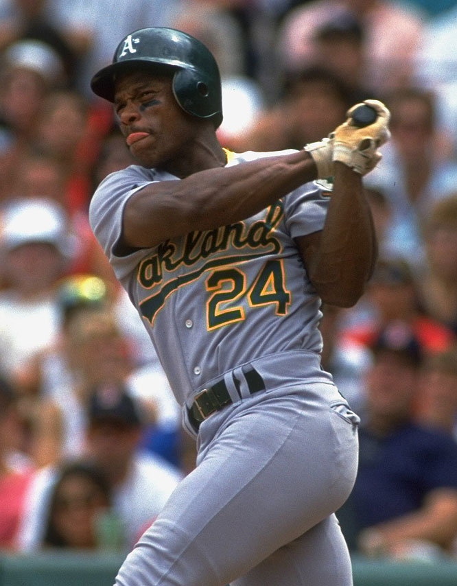 Rickey Henderson led the AL in steals 12 times and holds the record for steals with 1,406, runs scored with 2,295, unintentional walks with 2,129, and homers leading off a game with 81.