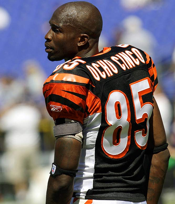 """Not pleased with his given name, Bengals wide receiver Chad Johnson legally changed his name to """"Chad Javon Ochocinco"""" in August 2008, an ode to his jersey No. 85 translated into Spanish. But the surname swap was not Johnson's first attempt to adopt """"Ocho Cinco.""""  The NFL fined Johnson $5,000 for wearing the """"Ocho Cinco"""" on the back of his Bengals jersey before a 2006 game against the Falcons."""
