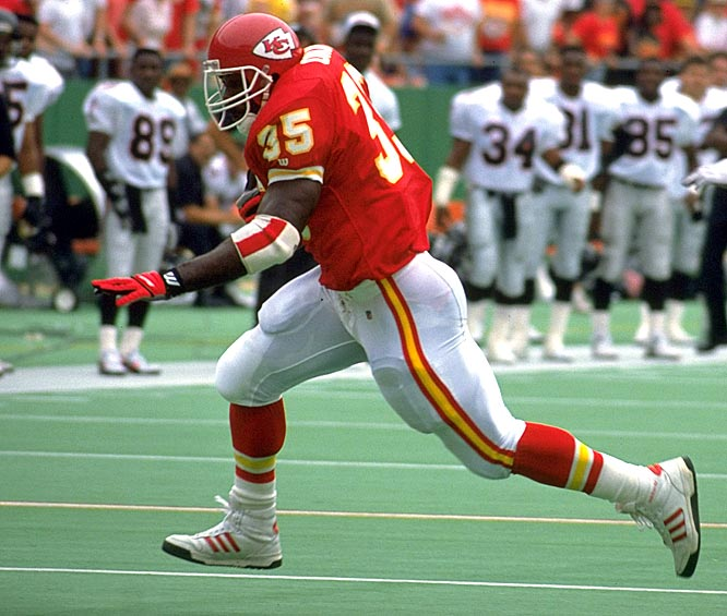 """At 6-foot-3 and 250-plus pounds, Okoye's punishing running style earned him the nickname """"Nigerian Nightmare"""" from Kansas City teammate Irv Eatman as a nod to his homeland of Enugu, Nigeria. In Okoye's short six-year career, he set the Chiefs' record for rushing yards in a career at 4,897, despite not picking up football until attending Azusa Pacific just three years before he was drafted."""