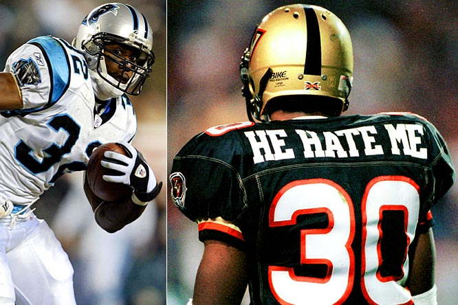 """Smart's nickname came from his days as a Las Vegas Outlaw in the XFL. Having no league uniform restrictions, Smart chose to adorn the back of his jersey with the phrase """"He Hate Me"""" to represent all the doubters who never gave him a chance. The nickname brought him public attention and one of the league's top-selling jerseys. In a triumph over his moniker, Smart went on to play in Super Bowl XXXVIII as a member of the Carolina Panthers."""