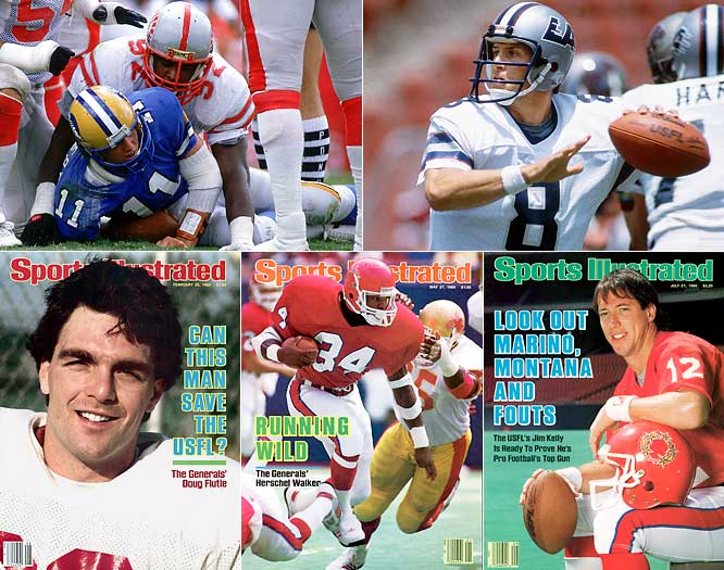 The USFL featured free-wheeling offense and plenty of future NFL stars, including (from clockwise left) Reggie White, Steve Young, Jim Kelly and Herschel Walker.