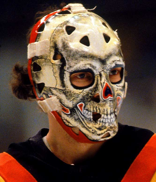 "This impressive and scary skull was fitting because Bromley was known throughout the NHL as ""Bones"" for his slender build -- 5-10, 160 pounds.  His nickname was spelled out with small bones on the back plate of the mask."