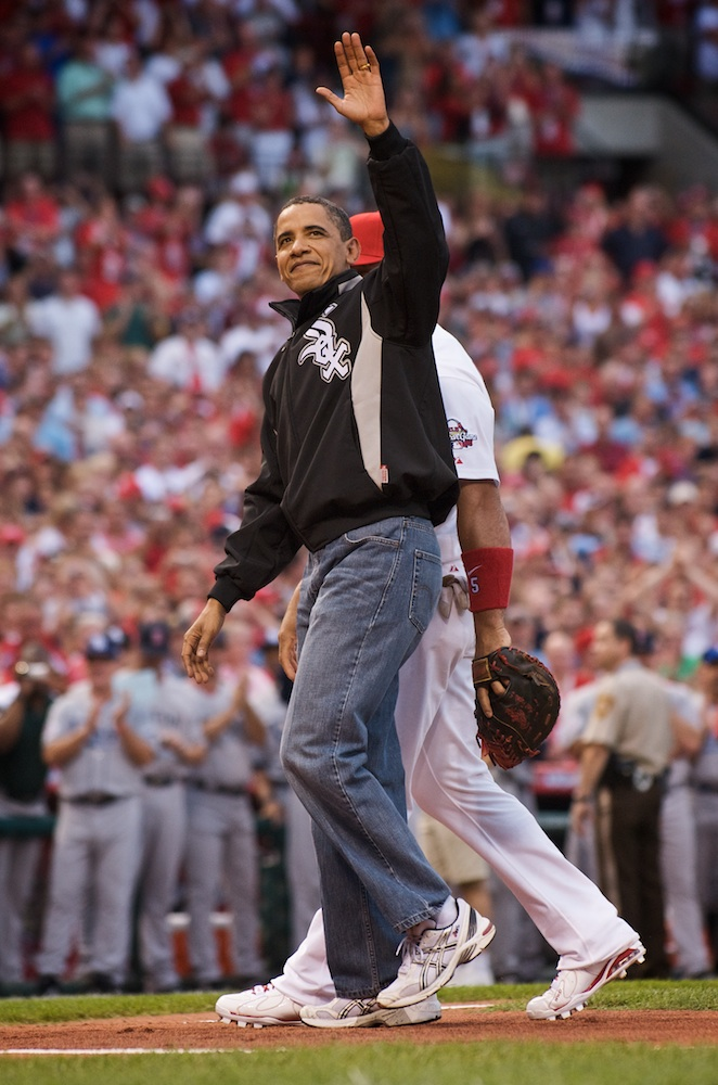 President Obama, a loyal White Sox fan, waves one final time to the St. Louis crowd.