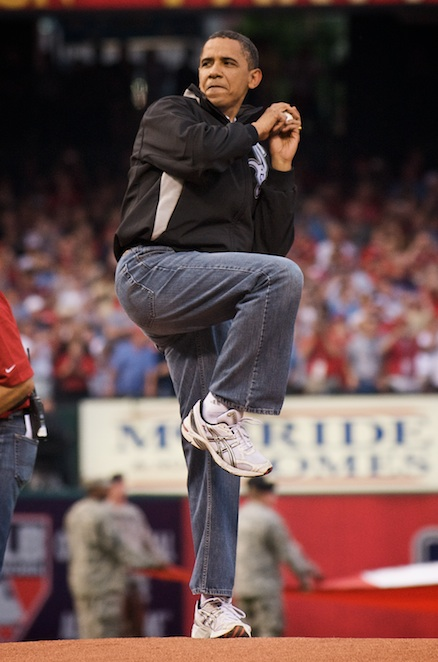 President Barack Obama toes the rubber and delivers to Albert Pujols.