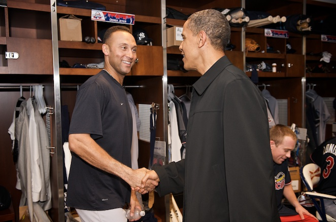 Derek Jeter takes time to greet the nation's 44th president in the AL clubhouse.