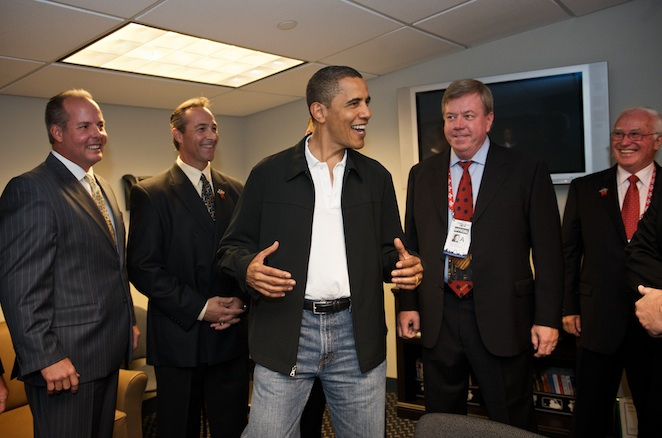 President Obama stopped by the umpires' locker room during his pregame tour, as well.