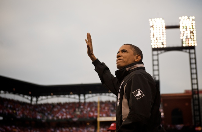 Barack Obama also threw out the first pitch in Game 2 of the 2005 American League Championship Series.