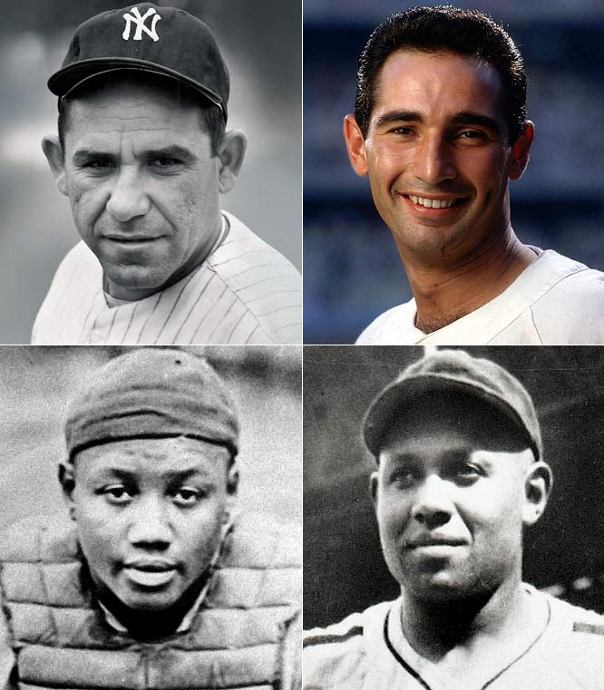 <i>Clockwise from top left:</i> Yogi Berra, Sandy Koufax, Buck Leonard, Josh Gibson. <i>Not pictured:</i> Ross Youngs, Early Wynn, Lefty Gomez, Will Harridge. <br><br>Josh Gibson and Buck Leonard were the Babe Ruth and Lou Gehrig of the Negro Leagues, with Gibson rivaling Ruth for title of the greatest power hitter to ever live. He and Berra give this class the two greatest catchers in baseball history to that point (Johnny Bench was just 24 at the time). In this group, Sandy Koufax's six years of park- and era-assisted dominance and Early Wynn's hard-earned 300 wins are bonuses.