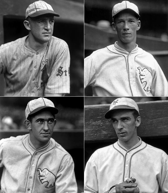 <i>Clockwise from top left:</i> Frankie Frisch, Lefty Grove, Carl Hubbell, Mickey Cochrane. <br><br>From 1940 to 1946 the Baseball Writers Association of America inducted just one player, Rogers Hornsby, into the Hall of Fame. They made up for lost time with this class, which included a candidate for the title of greatest pitcher of all time in Grove, the greatest catcher of the pre-World War II era in Cochrane, and two other thoroughly deserving candidates in keystone great Frisch, an eight-time pennant winner with John McGraw's Giants and the Gas House Cardinals, and screwball master Hubbell who dominated in the hitting-heavy 1930s.