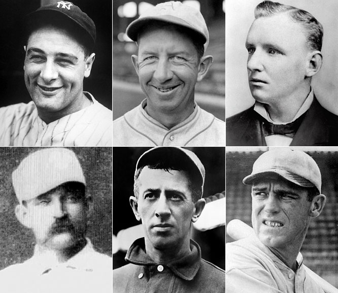 "<i>Clockwise from top left:</i> Lou Gehrig, Eddie Collins, Cap Anson, George Sisler, Willie Keeler, Old Hoss Radbourn. <i>Not pictured:</i> Buck Ewing, Candy Cummings, Albert Goodwill Spalding, Charlie Comiskey. <br><br>The initial effort to fill the Hall concluded with this class led by the just-retired Gehrig, the greatest first baseman of all time, and Collins, still in the argument over the greatest second baseman of all time. As a player, manager, owner, publisher, historian, barnstormer, and sporting goods magnate, Spalding was one of the game's seminal figures. On the down side, Cap Anson was one of the National League's first stars but also instrumental in drawing baseball's color line, Comiskey's miserly ways as White Sox owner set the stage for the fixing of the 1919 World Series, and Cummings was included solely on the basis of the dubious claim that he invented the curveball. The cherry on top is 1880s workhorse Charles ""Old Hoss"" Radbourn, whose entire 11-year career looks like a misprint."