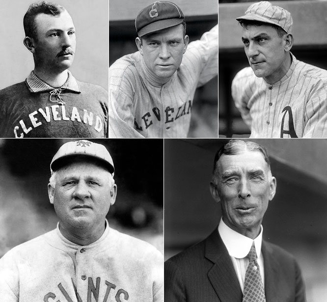 <i>Clockwise from top left:</i> Cy Young, Tris Speaker, Nap Lajoie, Connie Mack, John McGraw. <i>Not pictured:</i> Ban Johnson, George Wright, Morgan Bulkeley. <br><br> The two winningest mangers in baseball history, Mack and McGraw dominated the first half of the 20th century and their impact on the game still resonates. Cy Young's 511 career wins are baseball's most untouchable record. Ban Johnson founded the American League and helped establish its signature franchise in New York. George Wright was pro ball's first star as an outfielder with the 1869 Red Stockings. Tris Speaker is fifth on the all-time hit list and among the five greatest center fielders in the game's history. Lajoie has similar stature among the game's second basemen. Bulkeley was the NL's first president and is out of his depth here.
