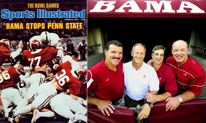 With less than seven minutes left in the '79 Sugar Bowl, linebacker Barry Krauss (77) tackled Penn State tailback Mike Guman six inches from the goal line on fourth down--a stop that preserved Alabama's 14-7 win and propelled the Crimson Tide to the national championship.  Tide defenders (from left) Krauss, Rich Wingo, Murray Legg, and Marty Lyons continue to draw life lessons from their famous stop of Guman.  Krauss played 11 years in the NFL and is now a broadcaster for the Colts and Crimson Tide.  Wingo, who spent five seasons with the Packers, and Legg are both in real estate in Birmingham.  Lyons played 11 seasons with the Jets and is now a vice president for a Long Island stadium design firm.